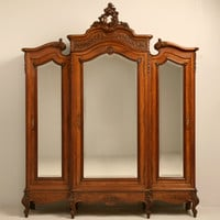 Exquisite Antique French Rococo Triple Walnut Armoire with Mirrors