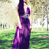 Find affordable A-line Halter Chiffon Sweep Train Pleats Prom Dresses