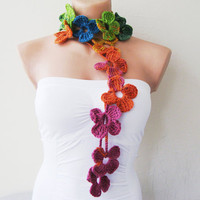 Rainbow Flower Hand Crochet Lariat Scarf by fairstore on Etsy