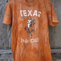 80&#x27;s UNIQUE Distressed Faded Texas Polo Club T-Shirt in Orange, S-M // Texas Barn Find // Vintage T-Shirt