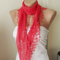 Red  Grenadine Red Cotton Scarf with Tassel Lace by Periay on Etsy