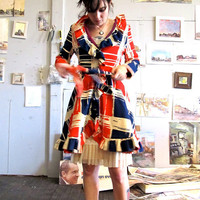 $248.00 Mid Century Color Block Ruffle Jacket by GinnyandHarriot