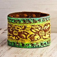 Tooled Leather Cuff Bracelet Vintage Handmade OOAK