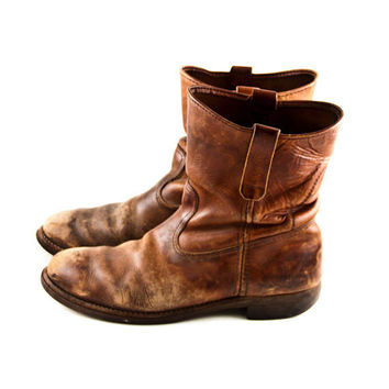 Vintage Leather Boots Men's Rustic Distressed Old by goodmerchants