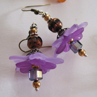 Spring is here Purple Flower Crystal earrings by steamheat on Etsy