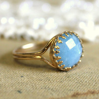 Aquamarine crowen stunning elegant 14K GF ring with by iloniti