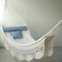 Nicamaka Single Hammock - Ecru: Patio, Lawn &amp; Garden