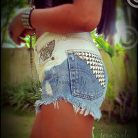 Vintage Levis high waisted denim shorts,ombre studded denim cut off shorts by Jeansonly