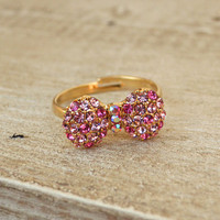 Sparkling Bow Ring [3841] - $9.00 : Vintage Inspired Clothing & Affordable Fall Frocks, deloom | Modern. Vintage. Crafted.