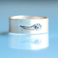 PEACOCK FEATHER ring SAPPHIRE and ecofriendly by ChocolateAndSteel