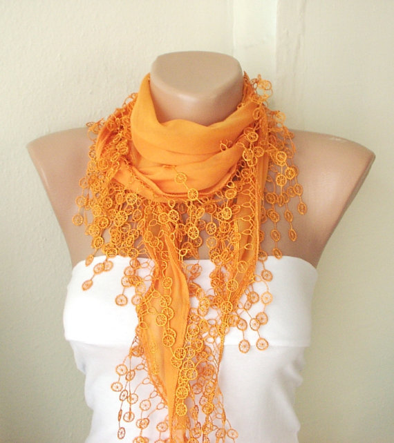 Orange mandarin spring color  Cotton Scarf with Tassel by Periay