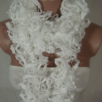 Hand Knitted White Ruffled Scarf by Arzu's Style