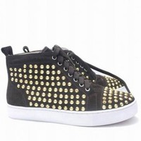 Christian Louboutin Louis Studded Hi Top Sneakers Nut Brown