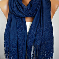 Navy Blue Tulle  Shawl Scarf   Cowl  Bridesmaid gift   by fatwoman