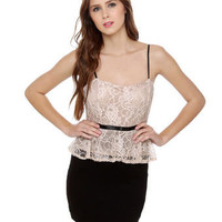 Pretty Lace Dress - Color Block Dress - Peplum Dress - $44.50