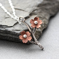 Cherry Blossom Branch Pendant, Sakura necklace, Spring blooms, Spring jewelry, Gifts for her, Mothers Day Jewelry, Gifts under 45