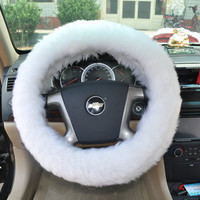 GENUINE WHITE LONG WOOL SHEEPSKIN STEERING WHEEL COVER STEEL