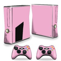 Protective Vinyl Skin Decal Cover for Microsoft Xbox 360 S Slim + 2 Controller Skins Sticker Skins Glossy Pink