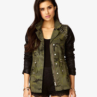 Faux Leather Spiked Camo Jacket