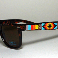 Beaded Wayfarer Sunglasses Tribal Print