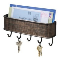 Amazon.com: InterDesign Twillo Wall Mount Mail and Key Rack, Bronze: Home & Kitchen