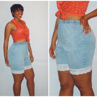Vintage Denim Biking Lace Shorts