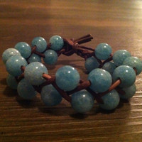 Blue Agate Leather Bracelet by lmouer on Etsy