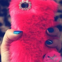 Red Furry Case for iPhone 4 [5088]