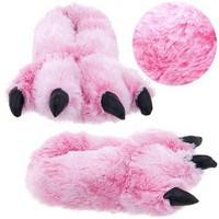 Pink Fuzzy Bear Paw Animal Slippers [3312] size M
