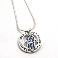 Peace-Faith-Hope-Truth-Love Affirmation Pendant with Blue Enameled Hamsa charm