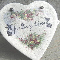 Spring Heart Decor Salt Dough Ornament Wall Kitchen Decor