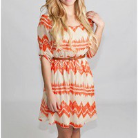 Sherwood Forest Belted Dress In Orange - Dresses