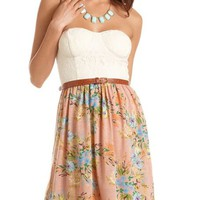 Belted Lace Bust Floral Dress: Charlotte Russe