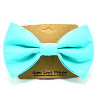 Light Blue Hair Bow Barrette