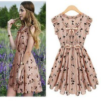 The star models elk pattern waist dress