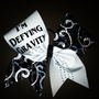 Im Defying Gravity on white and black glitter swirl- 3&quot; Black Grosgrain Cheer Bow