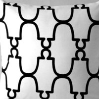 Modern Trellis Pillow Cover White Black 18 x18