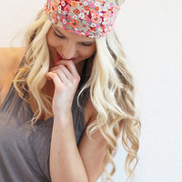 Wide Summer Headband Boho Style Floral Print