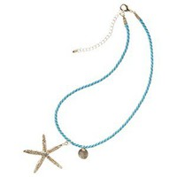 Starfish Long Necklace - Turquoise And Aqua