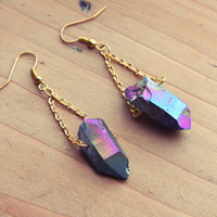 Rough Aura Quartz Point Crystal Earrings  Gold by kissthefuture