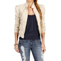 Stone/Beige Faux Leather Jacket
