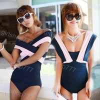 HOT sell Korea Women's Sexy Vintage Navy wind One Piece Monokini Bikini Swimwear