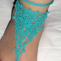 Barefoot Sandals, Gypsy Lace Sandals, Crochet Sandals, Beach Anklet Yoga Thong