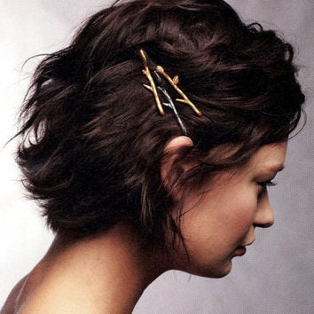 Twig Branch Bobby Hair Pins - Silver Bronze or Gold - Mix and Match You Choose Set of Three