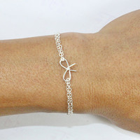 Silver Bow Bracelet, Friendship Cracelet Bridesmaid Jewelry,  Tie the Knot Gift Bracelet