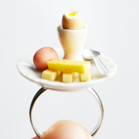 Boiled Eggs and Soldiers Ring, Fimo, Polymer Clay, Novelty Ring, UK