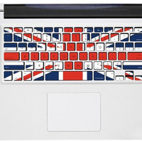 UK Flag keyboard Decal 2 --- Mac keyboard Decal Macbook Decals Macbook Stickers Vinyl decal for Apple mac decal