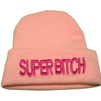Beanie Cuffed Super Bitch Pink