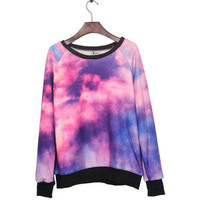 Pink Dip Dye Galaxy Print Pullover Sweatshirt