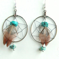 Dreamcatcher Earrings with Turquoise Stones and Feather, Dream Catcher Vintage Earrings, Native American Jewelry